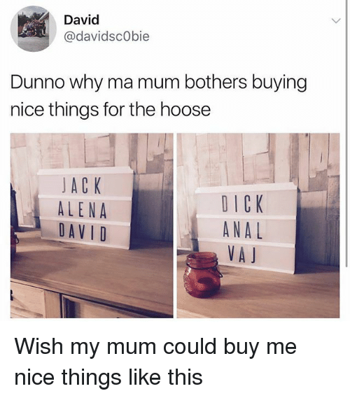 Analed: David  @davidscObie  Dunno why ma mum bothers buying  nice things for the hoose  JACK  ALENA  DAVID  DICK  ANAL  VA J Wish my mum could buy me nice things like this