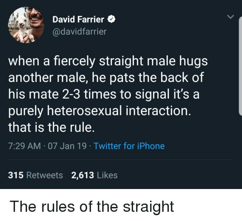 Iphone, Twitter, and Back: David Farrier  @davidfarrier  when a fiercely straight male hugs  another male, he pats the back of  his mate 2-3 times to signal it's a  purely heterosexual interaction.  that is the rule.  7:29 AM 07 Jan 19 Twitter for iPhone  315 Retweets 2,613 Likes The rules of the straight
