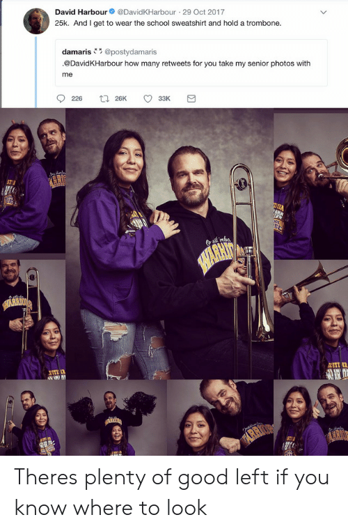 Oct 2017: David Harbour  @DavidKHarbour 29 Oct 2017  25k. And I get to wear the school sweatshirt and hold a trombone.  damaris@postydamaris  @DavidKHarbour how many retweets for you take my senior photos with  me  226  t26K  33K  mka.  SHARHIT  UTI  2ST  IA Theres plenty of good left if you know where to look
