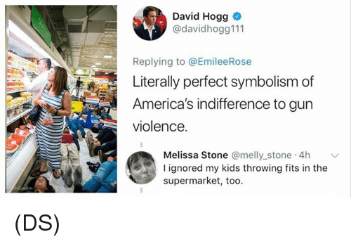 Memes, Kids, and 🤖: David Hogg  @davidhogg111  Replying to @EmileeRose  Literally perfect symbolism of  America's indifference to gun  violence.  a Stone @melly stone 4h  Meliss  l ignored my kids throwing fits in the  supermarket, too. (DS)