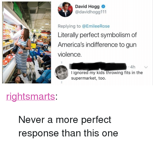 """Tumblr, Blog, and Kids: David Hogg  @davidhogg111  Replying to @EmileeRose  Literally perfect symbolism of  America's indifference to gun  violence.  4h  I ignored my kids throwing fits in the  supermarket, too. <p><a href=""""https://rightsmarts.tumblr.com/post/174300824915/never-a-more-perfect-response-than-this-one"""" class=""""tumblr_blog"""">rightsmarts</a>:</p><blockquote><p>Never a more perfect response than this one</p></blockquote>"""