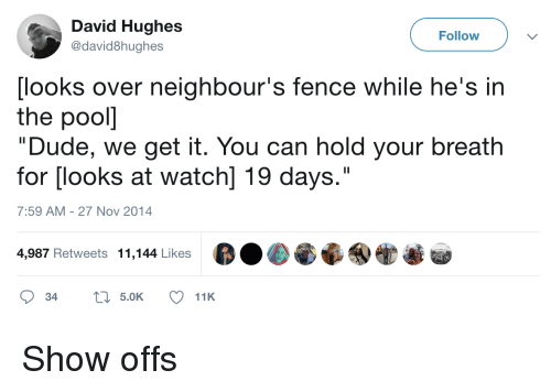 "Dude, Watch, and Can: David Hughes  @david8hughes  Follow  [looks over neighbour's fence while he's in  the pooll  ""Dude, we get it. You can hold your breath  for [looks at watch] 19 days.""  7:59 AM-27 Nov 2014  4,987 Retweets 11,144 Likes Show offs"