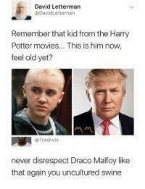 Feel Old: David Letterman  Remember that kid from the Harry  Potter movies... This is him now,  feel old yet?  never disrespect Draco Malfoy like  that again you uncultured swine