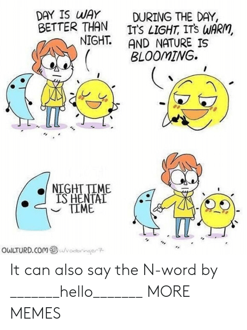 Dank, Hello, and Memes: DAY IS WAY DURING THE DAY,  BETTER THAN ITS LIGHT, ITS WARM,  NIGHT AND NATURE IS  BLOOMINWG.  NIGHTTIME  IS HENTAL  owLTURD.com@ Lu/volbrnae구 It can also say the N-word by _______hello_______ MORE MEMES