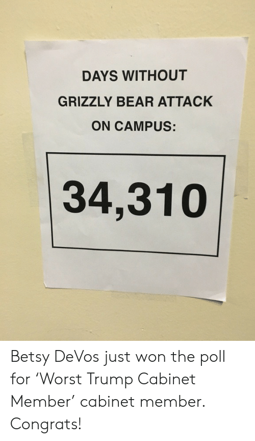 Devos: DAYS WITHOUT  GRIZZLY BEAR ATTACK  ON CAMPUS:  34,310 Betsy DeVos just won the poll for 'Worst Trump Cabinet Member' cabinet member. Congrats!