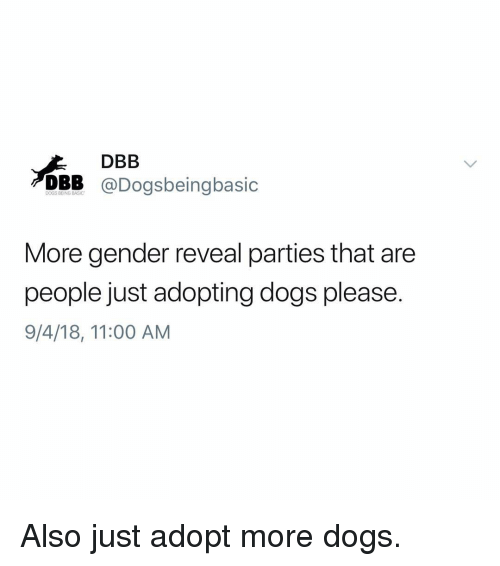 Dogs, Memes, and 🤖: DBB  DBB @Dogsbeingbasic  More gender reveal parties that are  people just adopting dogs please.  9/4/18, 11:00 AM Also just adopt more dogs.