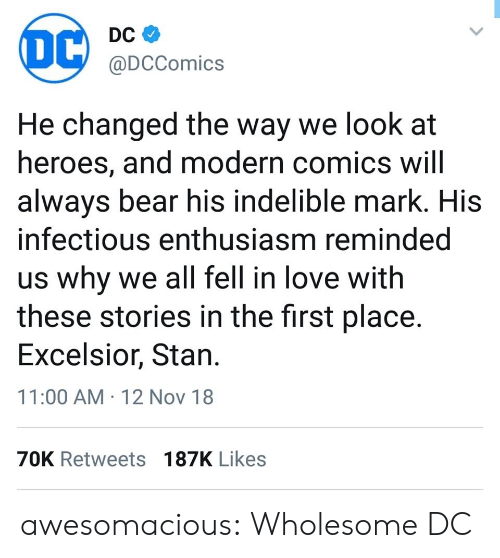 Love, Stan, and Tumblr: DC  @DCComics  He changed the way we look at  heroes, and modern comics will  alwavs bear his indelible mark. HiS  infectious enthusiasm reminded  us why we all fell in love with  these stories in the first place.  Excelsior, Stan  11:00 AM 12 Nov 18  70K Retweets 187K Likes awesomacious:  Wholesome DC