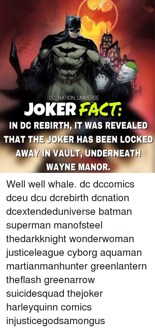 Batman, Fac, and Joker: DC NATION UNIVERSE  JOKER FAC  IN DC REBIRTH, IT WAS REVEALED  THAT THE JOKER HAS BEEN LOCKED  AWAY IN VAULT, UNDERNEAT  WAYNE MANOR. Well well whale. dc dccomics dceu dcu dcrebirth dcnation dcextendeduniverse batman superman manofsteel thedarkknight wonderwoman justiceleague cyborg aquaman martianmanhunter greenlantern theflash greenarrow suicidesquad thejoker harleyquinn comics injusticegodsamongus