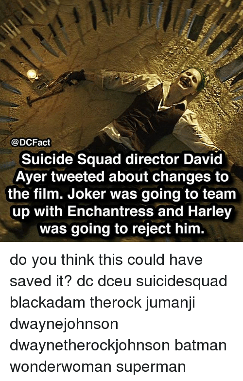 Batman, Joker, and Memes: @DCFact  Suicide Squad director David  Ayer tweeted about changes to  the film. Joker was going to team  up with Enchantress and Harley  was going to reject him do you think this could have saved it? dc dceu suicidesquad blackadam therock jumanji dwaynejohnson dwaynetherockjohnson batman wonderwoman superman