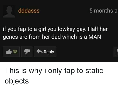 Dad, Memes, and Girl: dddasss  5 months a  if you fap to a girl you lowkey gay. Half her  genes are from her dad which is a MAN  38  Reply This is why i only fap to static objects
