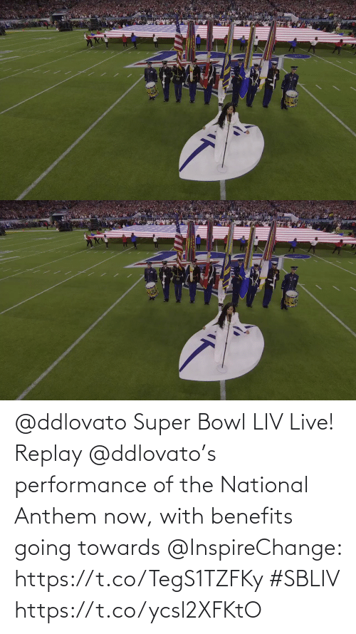 Benefits: @ddlovato Super Bowl LIV Live! Replay @ddlovato's performance of the National Anthem now, with benefits going towards @InspireChange: https://t.co/TegS1TZFKy #SBLIV https://t.co/ycsl2XFKtO
