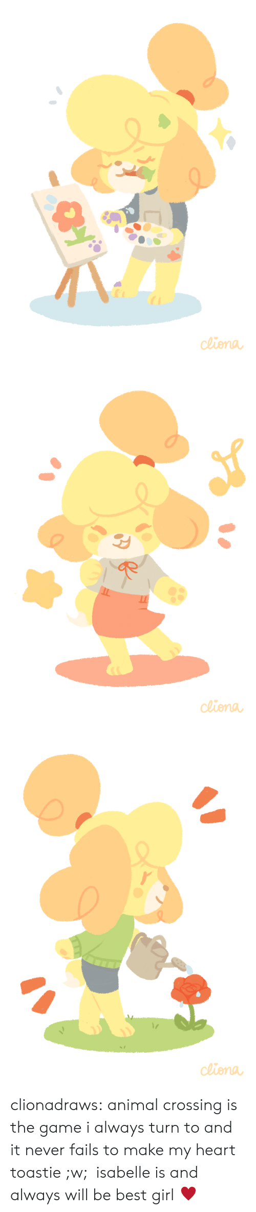 Toastie: de clionadraws:   animal crossing is the game i always turn to and it never fails to make my heart toastie ;w; isabelle is and always will be best girl ♥