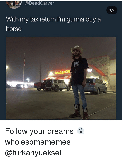 Whataburger: DeadCarver  With my tax return I'm gunna buy a  horse  WHATABURGER Follow your dreams 👻 wholesomememes @furkanyueksel