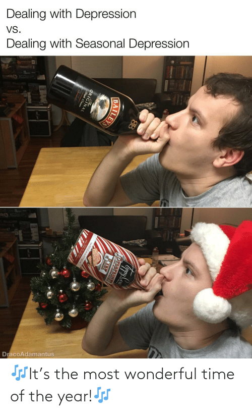 wonderful: Dealing with Depression  VS.  Dealing with Seasonal Depression  WER  DracoAdamantus  PEPPERMINT  BARX  ILEYS  ORIGINAL  Frish Cream 🎶It's the most wonderful time of the year!🎶