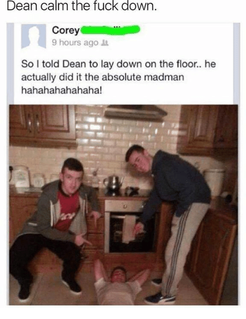 He Actually Did It: Dean calm the fuck down  Corey  9 hours ago t  So I told Dean to lay down on the floor.. he  actually did it the absolute madman  hahahahahahaha!
