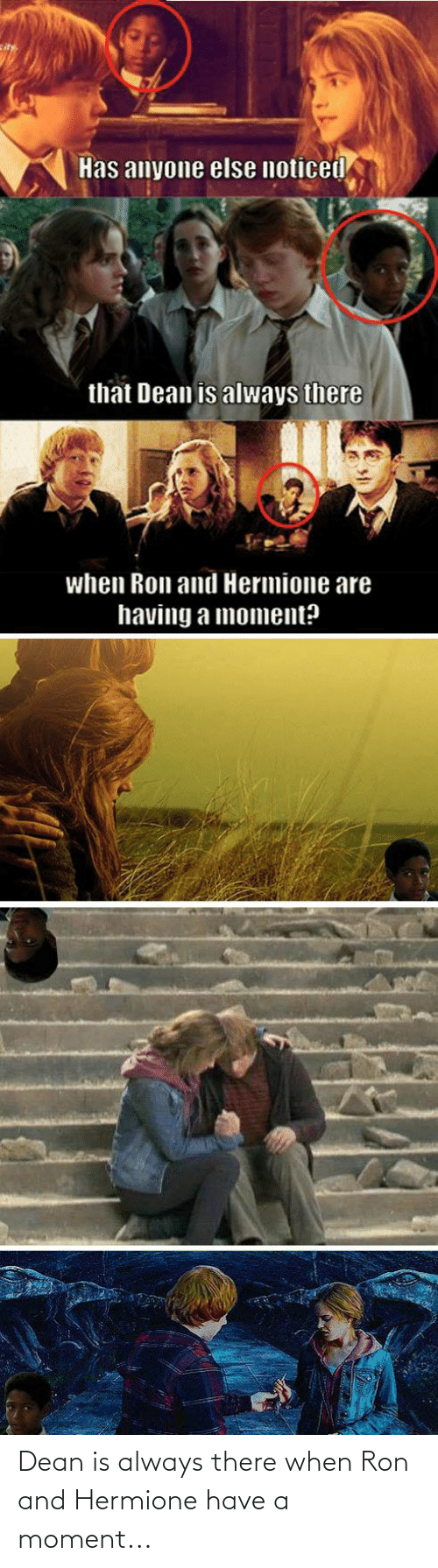 ron: Dean is always there when Ron and Hermione have a moment...