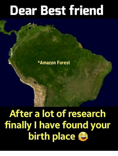 amazon forest: Dear Best friend  *Amazon Forest  After a lot of research  finally I have found your  birth place e
