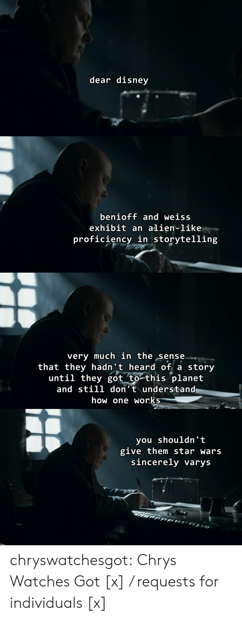 Disney, Star Wars, and Tumblr: dear disney   benioff and weiss  exhibit an alien-like  proficiency in storytelling   very much in the sense  that they hadn't heard of a story  until they got to this planet  and still don't understand  how one works   you shouldn' t  give them star wars  sincerely varys chryswatchesgot:  Chrys Watches Got [x] / requests for individuals [x]
