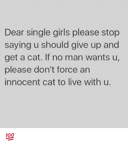 single girl: Dear single girls please stop  saying u should give up and  get a cat. If no man wants u,  please don't force an  innocent cat to live with u. 💯
