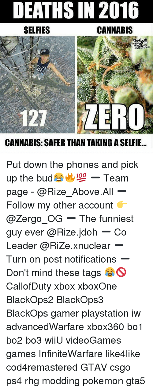 Cannabies: DEATHSIN 2016  SELFIES  CANNABIS  Butter  121 ZERO  CANNABIS: SAFER THAN TAKINGASELFIE... Put down the phones and pick up the bud😂🔥💯 ➖ Team page - @Rize_Above.All ➖ Follow my other account 👉 @Zergo_OG ➖ The funniest guy ever @Rize.jdoh ➖ Co Leader @RiZe.xnuclear ➖ Turn on post notifications ➖ Don't mind these tags 😂🚫 CallofDuty xbox xboxOne BlackOps2 BlackOps3 BlackOps gamer playstation iw advancedWarfare xbox360 bo1 bo2 bo3 wiiU videoGames games InfiniteWarfare like4like cod4remastered GTAV csgo ps4 rhg modding pokemon gta5