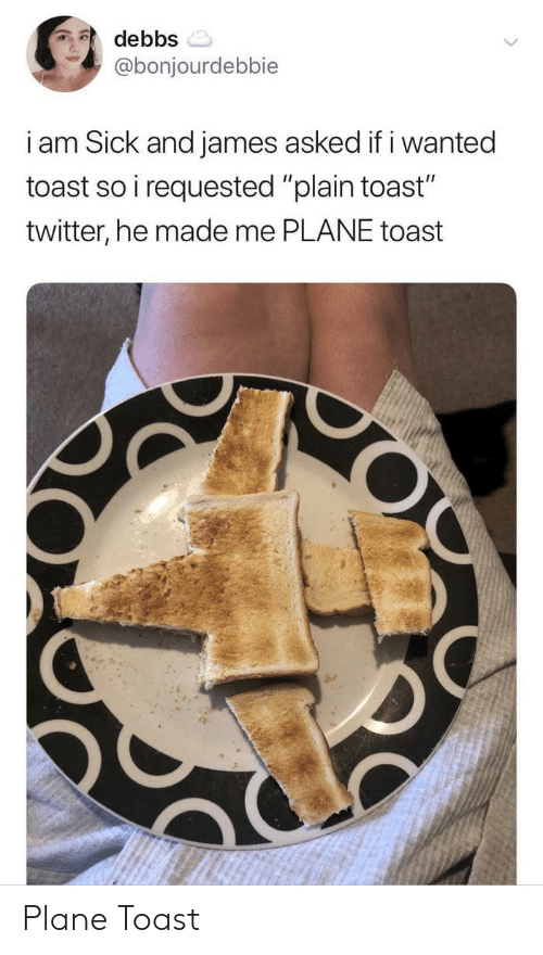 "Twitter, Toast, and Sick: debbs  @bonjourdebbie  i am Sick and james asked if i wanted  toast so i requested ""plain toast""  twitter, he made me PLANE toast  O Plane Toast"