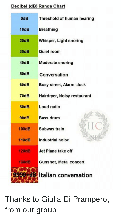 decibels: Decibel (dB) Range Chart  0dB Threshold of human hearing  10dB  Breathing  20dB  Whisper, Light snoring  30dB  Quiet room  40dB  Moderate snoring  50dB Conversation  60dB  Busy street, Alarm clock  70dB Hairdryer, Noisy restaurant  80dB  Loud radio  90dB  Bass drum  LIC  100dB  Subway train  110dB  ndustrial noise  120dB  Jet Plane take off  130dB  Gunshot, Metal concert  Italian conversation Thanks to Giulia Di Prampero, from our group