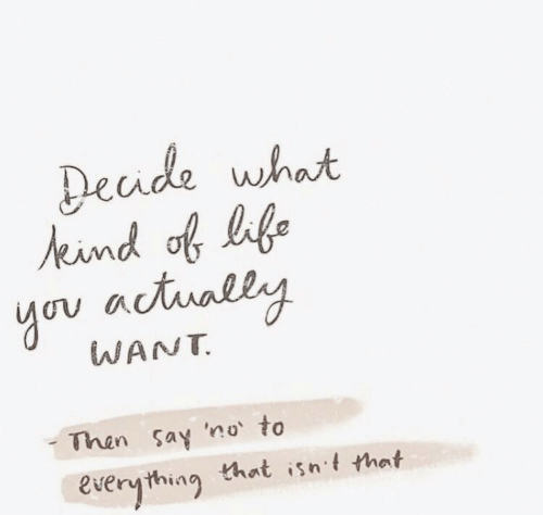 Life, You, and What: Decide what  eind of life  you actually  WANT  Then say 'no to  Everything that isnt that