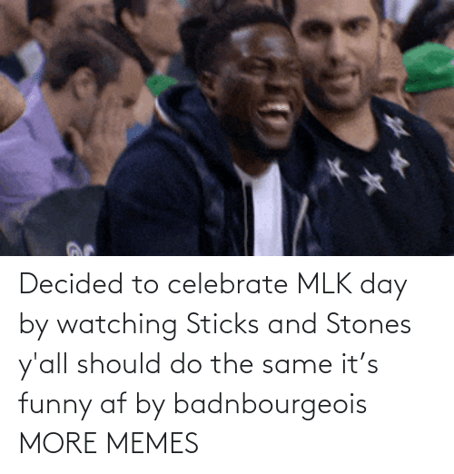 Funny Af: Decided to celebrate MLK day by watching Sticks and Stones y'all should do the same it's funny af by badnbourgeois MORE MEMES