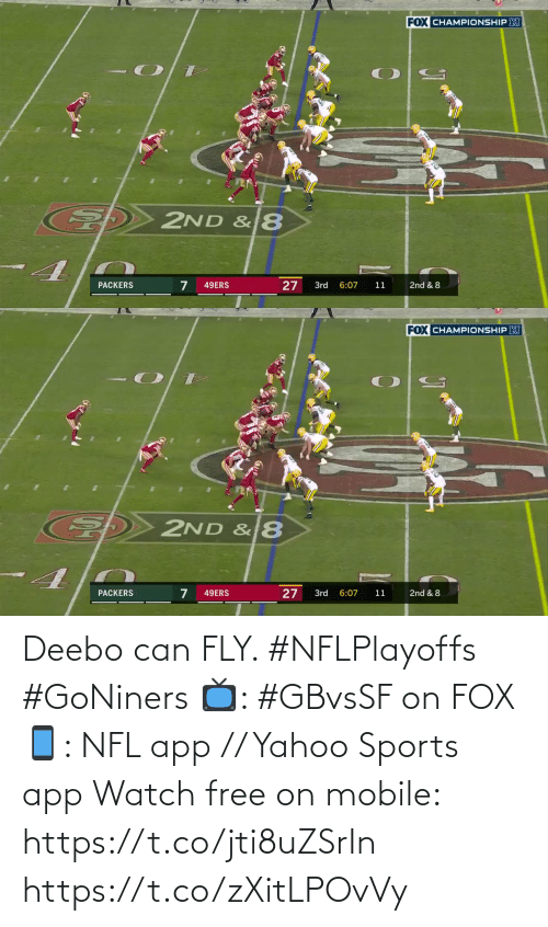 yahoo sports: Deebo can FLY. #NFLPlayoffs #GoNiners  📺: #GBvsSF on FOX 📱: NFL app // Yahoo Sports app Watch free on mobile: https://t.co/jti8uZSrIn https://t.co/zXitLPOvVy