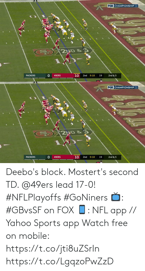 yahoo sports: Deebo's block. Mostert's second TD. @49ers lead 17-0! #NFLPlayoffs #GoNiners  📺: #GBvsSF on FOX 📱: NFL app // Yahoo Sports app Watch free on mobile: https://t.co/jti8uZSrIn https://t.co/LgqzoPwZzD