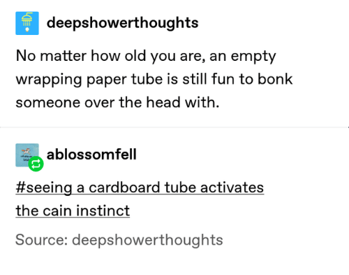 cardboard: deepshowerthoughts  No matter how old you are, an empty  wrapping paper tube is still fun to bonk  someone over the head with  ablossomfell  eve  bi  #seeing a cardboard tube activates  the cain instinct  Source: deepshowerthoughts