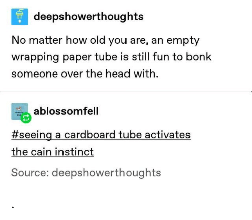 cardboard: deepshowerthoughts  No matter how old you are, an empty  wrapping paper tube is still fun to bonk  someone over the head with  ablossomfell  #seeing a cardboard tube activates  the cain instinct  Source: deepshowerthoughts .