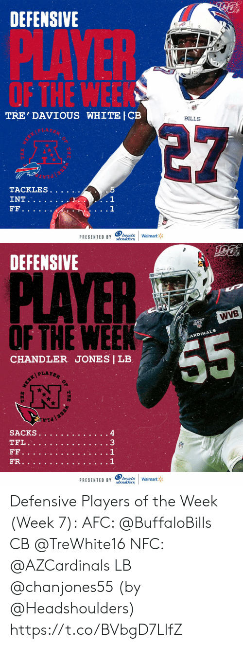Head, Memes, and Walmart: DEFENSIVE  PLAYER  OF THE WEEK  TRE' DAVIOUS WHITE | CB  BILLS  5  TACKLES.  . 1  1  INT  FF.  head&  shoulders  Walmart  PRESENTED BY  MEEK   DEFENSIVE  PLAYER  WVB  OFTHE WEEK  CARDINALS  55  CHANDLER JONES | LB  PLAYER  SACKS  TFL.  33  FF  FR.  head&  shoulders  PRESENTED BY  Walmart  OF  THE  EBR/ Defensive Players of the Week (Week 7):  AFC: @BuffaloBills CB @TreWhite16 NFC: @AZCardinals LB @chanjones55  (by @Headshoulders) https://t.co/BVbgD7LlfZ