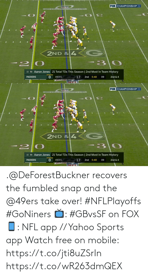 yahoo sports: .@DeForestBuckner recovers the fumbled snap and the @49ers take over! #NFLPlayoffs #GoNiners  📺: #GBvsSF on FOX 📱: NFL app // Yahoo Sports app Watch free on mobile: https://t.co/jti8uZSrIn https://t.co/wR263dmQEX