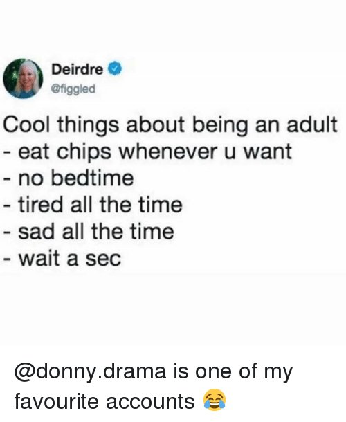 Being an Adult, Memes, and Cool: Deirdre  @figgled  Cool things about being an adult  - eat chips whenever u want  - no bedtime  - tired all the time  - sad all the time  wait a sec @donny.drama is one of my favourite accounts 😂