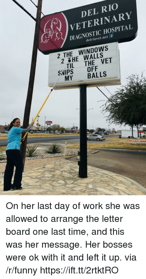 Veterinary: DEL RIO  VETERINARY  DIAGNOSTIC HOSPITAL  ur,  delriovet.net f  2 THE WINDOWS  2 HE WALLS  TIL THE VET  SWIPS OFF  MY BALLS  Sutherlands On her last day of work she was allowed to arrange the letter board one last time, and this was her message. Her bosses were ok with it and left it up. via /r/funny https://ift.tt/2rtktRO