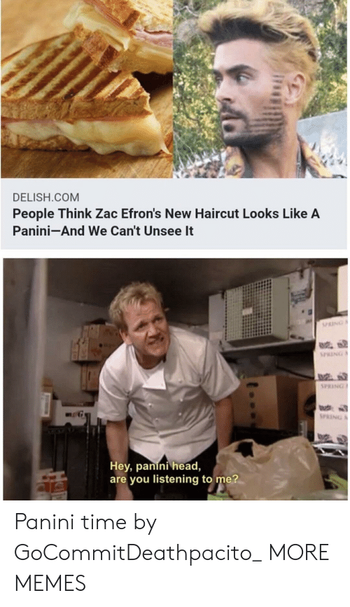 panini: DELISH.COM  People Think Zac Efron's New Haircut Looks Like A  Panini-And We Can't Unsee It  PRING  PRING  Hey, panini head,  are you listening to me? Panini time by GoCommitDeathpacito_ MORE MEMES