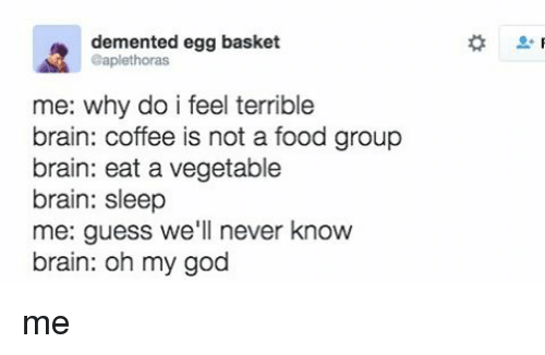 Dementic: demented egg basket  @aplethoras  me: why do i feel terrible  brain: coffee is not a food group  brain: eat a vegetable  brain: sleep  me: guess we'll never know  brain: oh my god me
