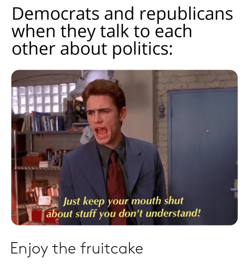 Politics, Stuff, and They: Democrats and republicans  when they talk to each  other about politics:  Just keep your mouth shut  about stuff you don't understand! Enjoy the fruitcake