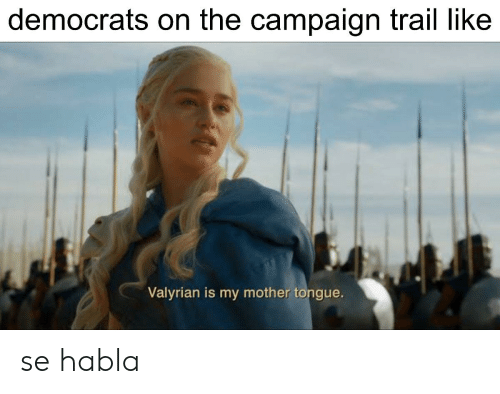 Mother, Tongue, and Campaign: democrats on the campaign trail like  Valyrian is my mother tongue. se habla
