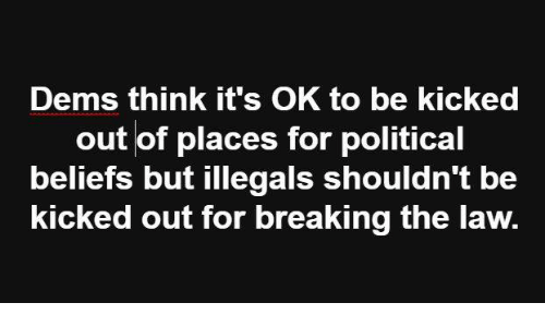 Memes, 🤖, and Law: Dems think it's OK to be kicked  out of places for political  beliefs but illegals shouldn't be  kicked out for breaking the law.