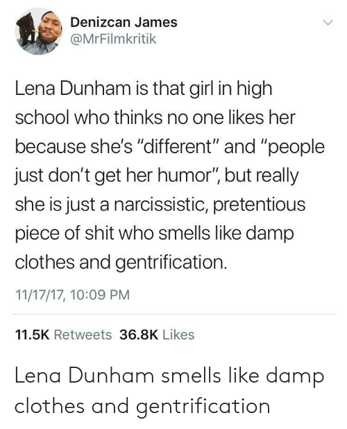 """lena dunham: Denizcan James  @MrFilmkritik  Lena Dunham is that girl in high  school who thinks no one likes her  because she's """"dlifferent"""" and """"people  just don't get her humor"""" but really  she is just a narcissistic, pretentious  piece of shit who smells like damp  clothes and gentrification.  11/17/17, 10:09 PM  11.5K Retweets 36.8K Likes Lena Dunham smells like damp clothes and gentrification"""