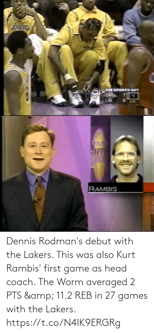 worm: Dennis Rodman's debut with the Lakers. This was also Kurt Rambis' first game as head coach.   The Worm averaged 2 PTS & 11.2 REB in 27 games with the Lakers. https://t.co/N4IK9ERGRg