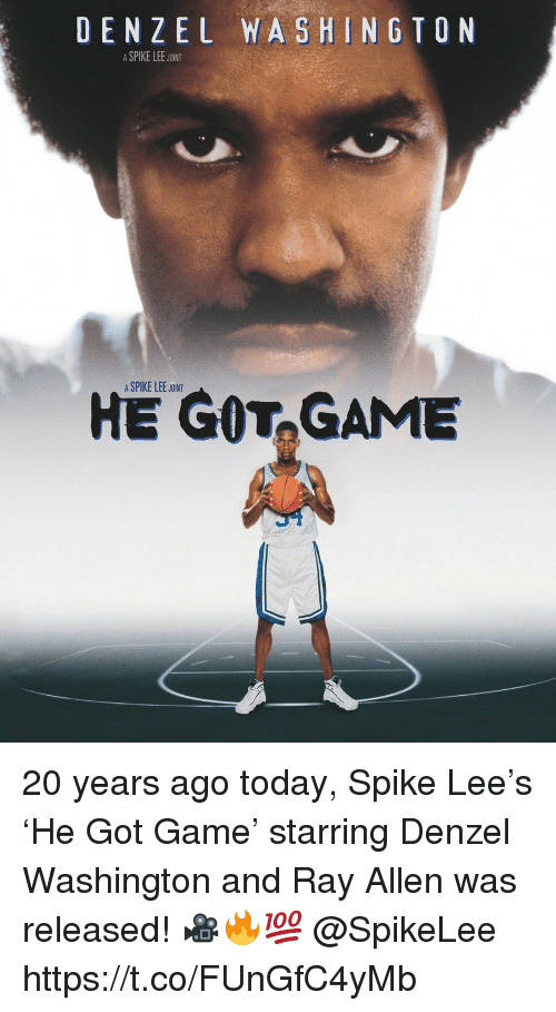 Denzel Washington: DENZEL WASHINGTON  ASPIKE LEE JOINT  A SPIKE LEE JOINT  HE GOT,GAME 20 years ago today, Spike Lee's 'He Got Game' starring Denzel Washington and Ray Allen was released! 🎥🔥💯 @SpikeLee https://t.co/FUnGfC4yMb