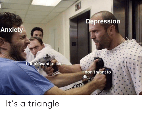 Anxiety, Depression, and Live: Depression  Anxiety  Tdon'twant to live  Idon't want to  die  we It's a triangle