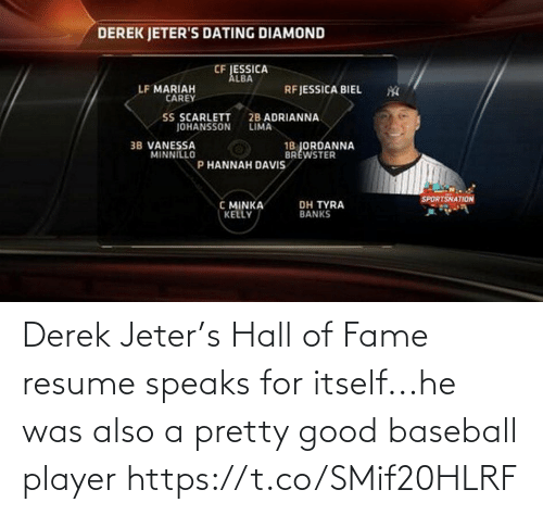 Good: Derek Jeter's Hall of Fame resume speaks for itself...he was also a pretty good baseball player https://t.co/SMif20HLRF