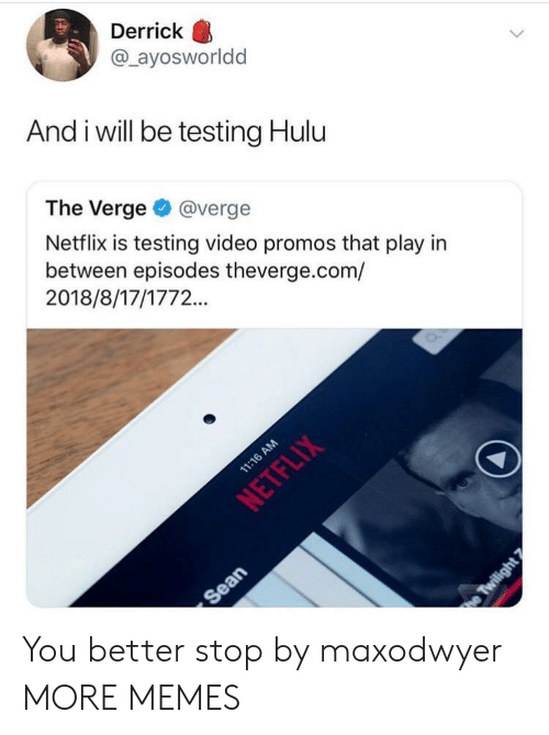 Hulu: Derrick  @ ayosworldd  And i will be testing Hulu  The Verge@verge  Netflix is testing video promos that play in  between episodes theverge.com/  2018/8/17/1772.. You better stop by maxodwyer MORE MEMES
