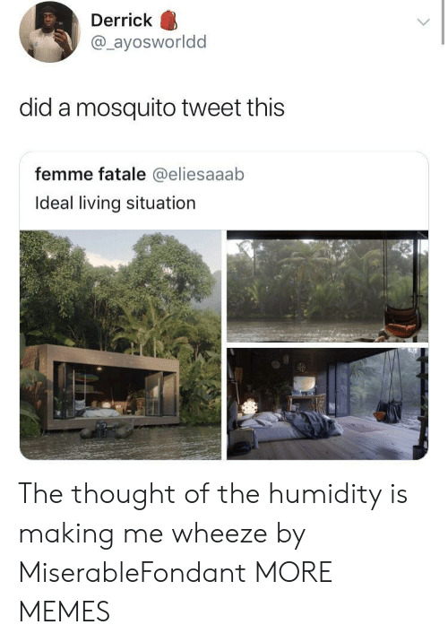 femme: Derrick  @ayosworldd  did a mosquito tweet this  femme fatale @eliesaaab  Ideal living situation The thought of the humidity is making me wheeze by MiserableFondant MORE MEMES