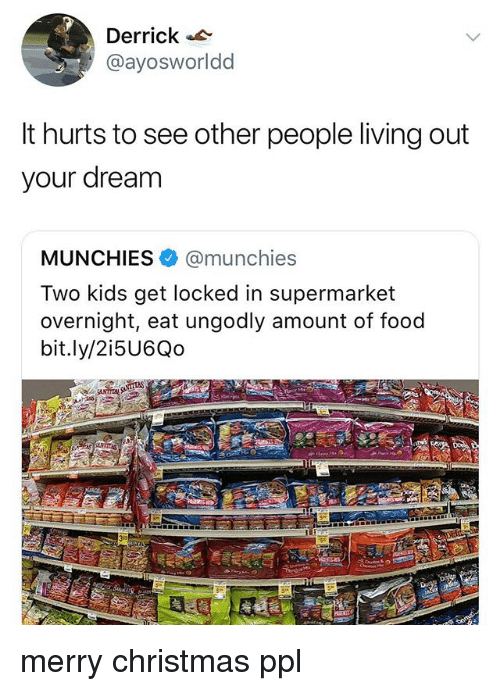 see-other-people: Derrick  @ayosworldd  It hurts to see other people living out  your dream  MUNCHIES. @munchies  Two kids get locked in supermarket  overnight, eat ungodly amount of food  bit.ly/2i5U6Qo merry christmas ppl