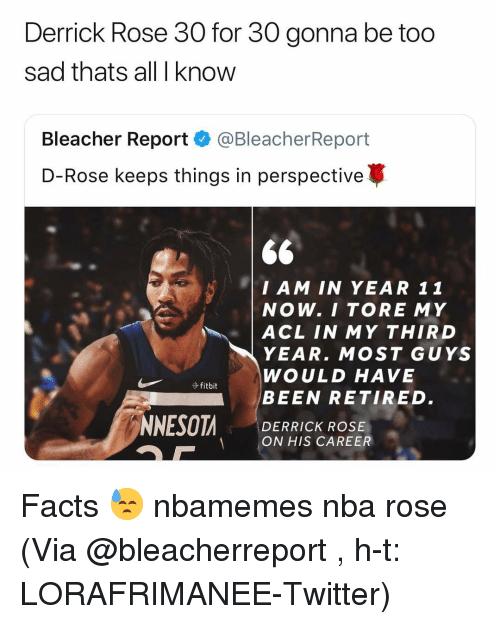 Basketball, Derrick Rose, and Facts: Derrick Rose 30 for 30 gonna be too  sad thats all I know  Bleacher Report·@BleacherReport  D-Rose keeps things in perspective  $6  I AM IN YEAR 11  NOW. I TORE MY  | ACL IN MY THIRD  YEAR. MOST GUYS  WOULD HAVE  BEEN RETIRED.  DERRICK ROSE  ON HIS CAREER Facts 😓 nbamemes nba rose (Via @bleacherreport , h-t: LORAFRIMANEE-Twitter)